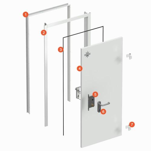 Технологические двери двустворчатые (ТДД) (рама угловая) 1400x1900 RAL 9003