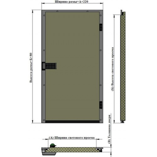 Дверь одностворчатая АТМ РДО-1200.2200 /80Н для холодильной камеры (распашная)